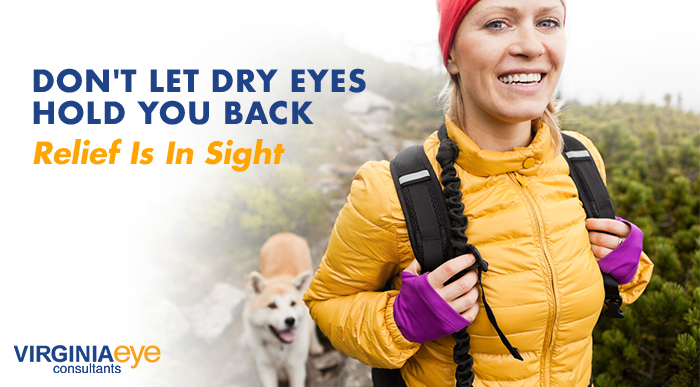 """Blonde woman hiking with a backpack and her dog. Graphic copy reads """"Don't Let Dry Eyes Hold You Back. Relief Is In Sight"""""""