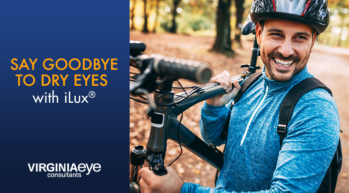 """Man holding mountain bike with graphic copy """"Say Goodbye to Dry Eyes with iLux"""""""