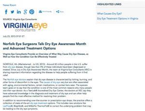 dry eye,norfolk,eye doctors,causes of dry eye,dry eye treatment,lipiflow
