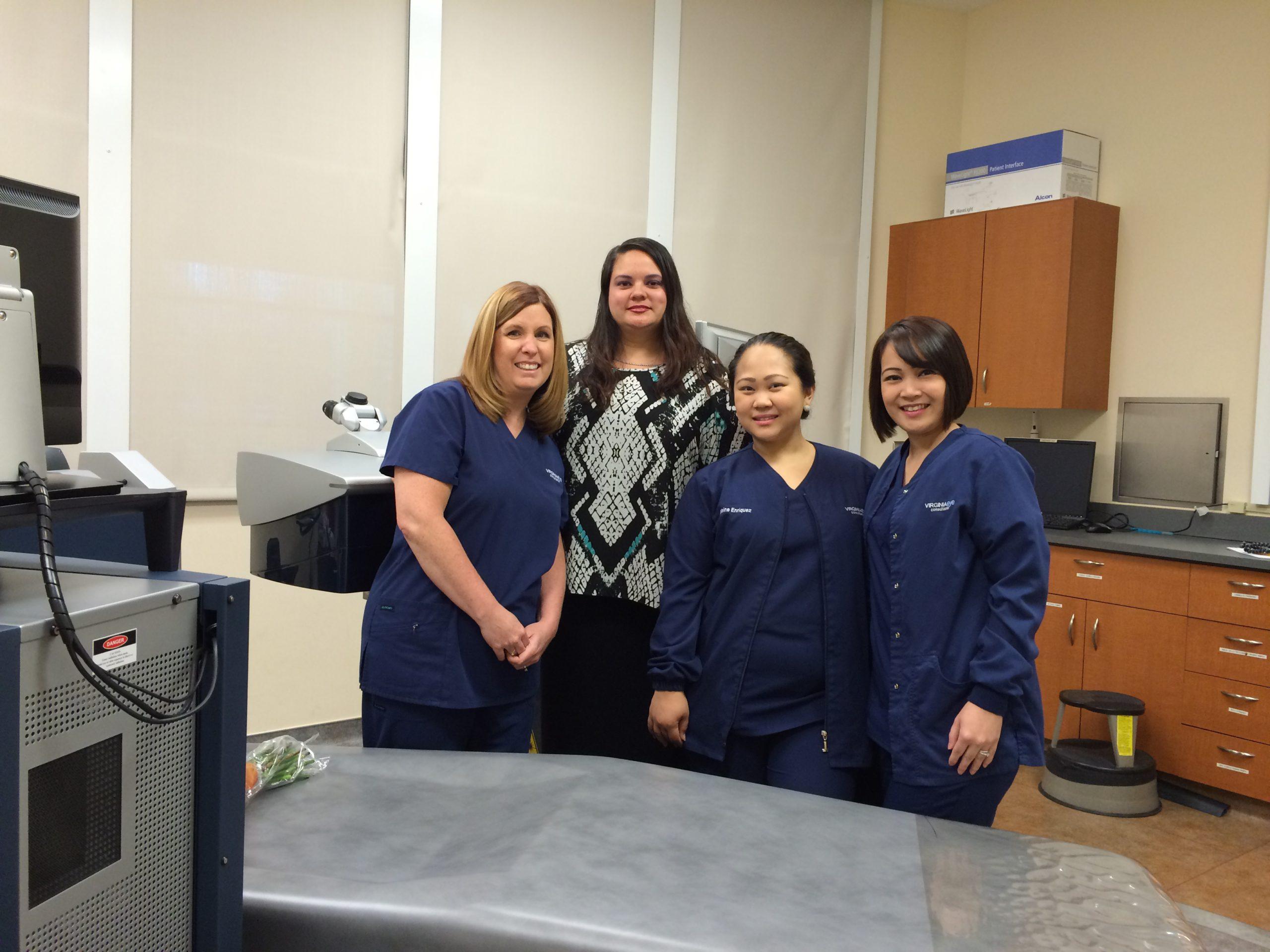 Leasa Meroney, Refractive Coordinator; Shannon Flores; Ellaine Enriquez, COMT; Florence Padua, COMT