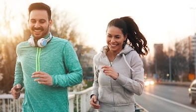 happy couple running exercise