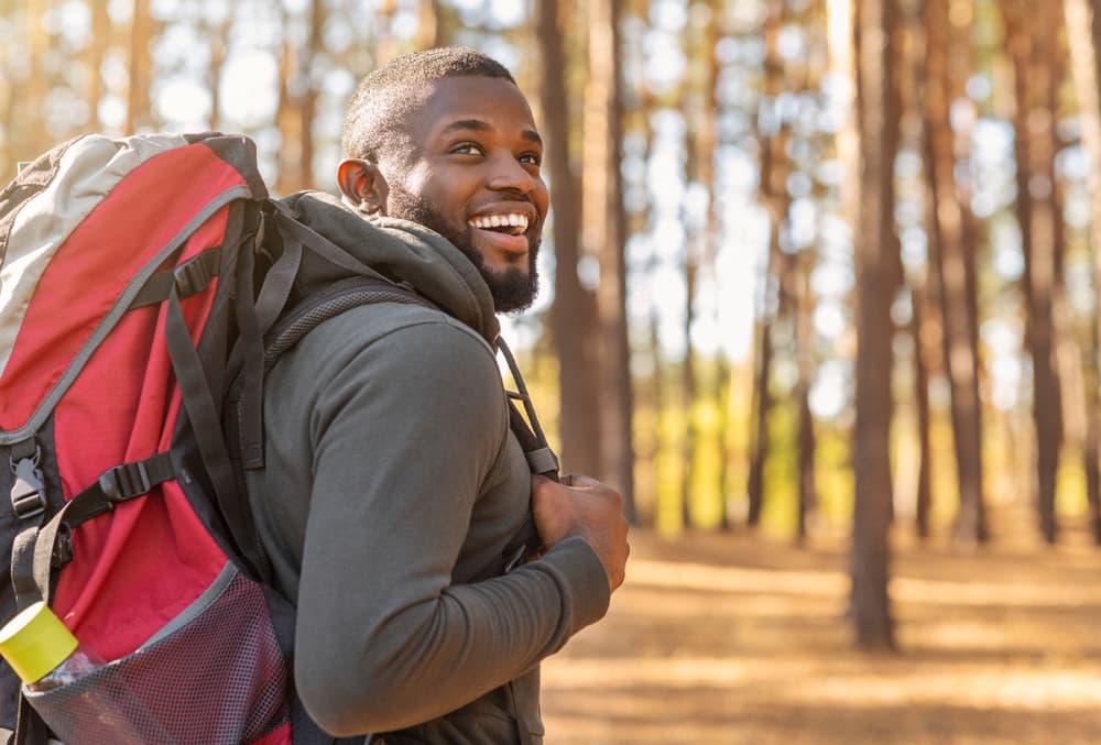 happy man hiking