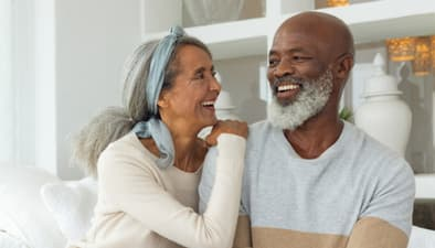 happy senior couple in their home
