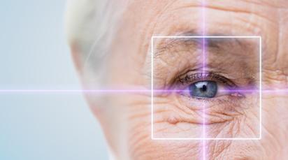 senior eye close up